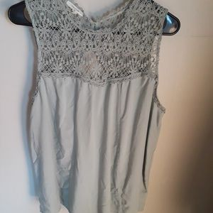 Lace pieced sleeveless top
